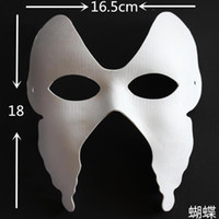 Wholesale Mask Painting Butterfly - Butterfly DIY Plain White Masks Females Paper Pulp Blank Unpainted Hand Painted Half Masquerade Party Masks for Festive Birthday Wedding