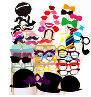 Wholesale Wedding Mustache - Fashion Hot 58pcs set Funny Photo Booth Props Hat Mustache On A Stick Wedding Birthday Party Favor