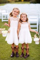 Wholesale Kids Bridesmaid Dresses Line - 2016 Lovely Country Style Flower Girl Dresses for Wedding Crew Neck A Line Lace Cute Kids Dresses For Junior Bridesmaid Custom Made