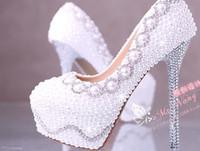 sapatos de baile tamanho 12 mulheres venda por atacado-Moda Branco Pérola Sapatos de Noiva de Cristal 10 CM 12 CM 14 CM Mais Magro Sapatos de Casamento de Salto Alto Plataforma Noite Festa de Formatura Mulheres Sapatos EUA Tamanho 4-9