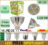 Wholesale Mr16 12w Fedex - 50X Dimmable LED Spotlight MR16 9W Lamp Bulbs 12V 3-LED WARM PURE COOL White Color Spot Light Energy Saving Lighting Bulb Via DHL FEDEX FREE