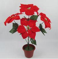 Wholesale Red Sunflowers - christmas flower poinsettia artificial flowers poinsettia christmas home festival decoratiion flower 45cm 5 Head Poinsettia Flower SF009
