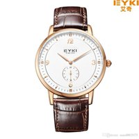 Wholesale Eyki Watches Overfly - EYKI OVERFLY Luxury Brand Genuine Leather Strap Analog Date Stop Watch Quartz Watch Casual Watch relogio masculino