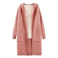 Wholesale New Women Front Open Cardigan - New Women's Casual Hooded Open Front Mid-Long Sweater Cardigan
