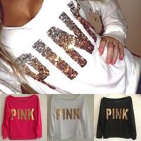Wholesale Love Pink T Shirts - 2017 vs love PINK t shirt VS Hoodies Women Fashion Solid Pink Brief Letters Print Sweatshirt women Long Sleeve O Neck DHL Free shipping