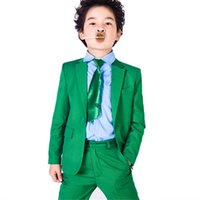 Wholesale Wedding Suit Green Boys - Green Boys Suit Wedding Prom Formal Tuxedos Two Piece Page Boy Custom Party Dinner Suit Bespoke