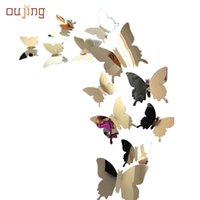 Wholesale Wall Art Decals Wholesale Prices - Wholesale- oujing Factory Price beautiful Decal Butterflies 3D Mirror Wall Stickers for Art Home Decors or Poster Wallpaper Aug15