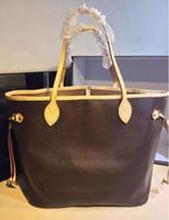 bolsos de compras de moda al por mayor-Alta calidad vintage estilo vintage bolso de hombro de cuero genuino mujeres de la manera mm / gm bolso de mano NUNCA COMPLETAS shopper shopper M40156