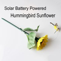 Wholesale Yards Feathers - Solar Battery Powered Fluttering Hummingbird Sunflower Feather Wings and Tails Garden Yard Decoration best gift D709L