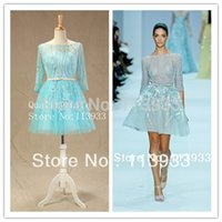 Wholesale Elie Saab Actual - 2014 Actual Real New Arrival Fashion Elie Saab Luxury Beaded With Sleeves Crystals Short Evening Prom Dresses Gown Custom Made