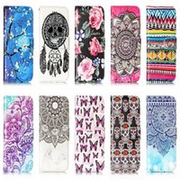 Wholesale Iphone 5s Cases Skull - Skull Dreamcatcher Leather Wallet Case For Iphone X 8 7 Plus 6 6s SE 5S Touch 6 5 Flower Flip Cover ID Card Pouch Frame Holder Stand