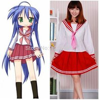 Wholesale Izumi Cosplay - Lucky Star Konata Izumi Cosplay Costume School Uniform Clothes Dress emboitement full set (Tops + Skirts + Scarf)