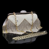 Wholesale Korea Fashion Evening - Wholesale-2015 Fashion Korea Brand Women's Handbag PU Leather Diamond Beading Tassel Evening Bag Day Clutch Party Wedding Banquet Bag