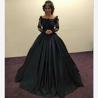 uzun kollu siyah top elbise toptan satış-Zarif Siyah Prenses Gelinlik Modelleri Uzun Kollu Sheer Dantel Boncuklu Aplikler Scoop Dantelli Balo Parti Törenlerinde Örgün Akşam Elbise