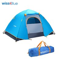 Wholesale tent person layer - Wholesale- Wissblue Hydraulic Automatic Windproof Waterproof Double Layer Tent 2-3 person Tents Outdoor Hiking Camping Tent Picnic Tents