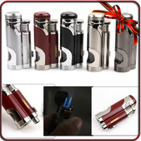 Wholesale Lighter Cigar Double - High Quality Metal Jet Double Flame Cigarette Butane Gas Lighter W Cigar Punch