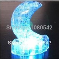 Wholesale 3d Crystal Jigsaw Puzzles - Wholesale-Flash Moon 3D Crystal Puzzle DIY Educational Jigsaw Model Toy