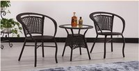 Wholesale Rattan Garden Furniture Wholesalers - Rattan outdoor furniture tea tables and chairs Cane three-piece tea table Garden furniture cafe tables and chairs suite