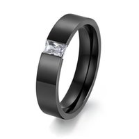 Wholesale Highest Quality Crystal Engagement Ring - ORSA New High Quality Titanium Steel Rings with Square Crystal Wedding Engagement Rings for Men OTR78
