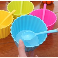 Großhandel Plastik-eiswannen Kaufen -Wholesale-Süßigkeit-Farben-Kunststoff-Ice Cream Cup und Löffel Lacework Ice Cream Tub Bowl MINI Küchenhelfer 10set / lot SH491