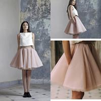junior vestidos rosa claro al por mayor-Light Pink Sexy Mini faldas cortas Tutu Tulle una línea de capas de vestidos de fiesta Junior Women Prom Vestidos 2016 por encargo