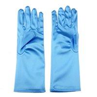 Wholesale Baby Finger Gloves - Baby Girls Long Gloves Frozen Elsa Princess Girls Ladies Fancy Gloves Christmas Birthday Children Kids Gift Pink Blue 1704010