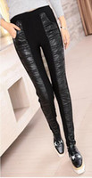 Wholesale Thick Thin Pants Women - Han edition authentic tight show thin women winter new fashion and velvet with thick warm splicing high elastic waist leather pants. M - 2xl