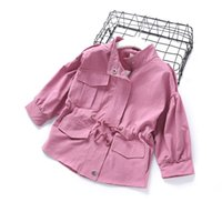 Wholesale Kids Western Coats - Everweekend Girls Pocket Jacket Sweet Baby Pink and Khaki Color Coat Lovely Kids Western Fashion Autumn Outerwear