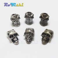 Wholesale Skull Paracord - 10pcs pack Single Vertical Hole Metal Skull Beads for Paracord Knife Lanyards