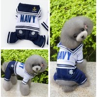 Cute Navy Ventilate Puppy Dog Футболка Платье для BoyGirl Cheap Cute Navy Pet Jumpsuit Рубашки Pet Supplier 5 Размер Mix Заказ 25PCS / LOT
