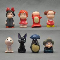 Wholesale Ponyo Figure Pvc - Free shipping Totoro Spirited Away Ponyo on the Cliff by the sea 8x set mini figure toy