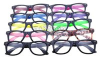 Wholesale Wholesale Colorful Optical Frames - 10 Colors New Frame Optical Glasses Frame Plastic Eyeglasses Black Frame Colorful Temples Without Lens Cheap Eyeglasses