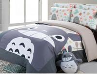 Wholesale King Size Bedding Korean - Good quailty 100% cotton korean Style totoro bed set bed sets Twin Queen super king size duvet cover 220*240cm 150*200cm kids