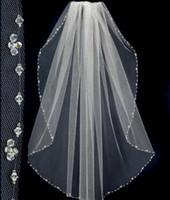 Wholesale Beaded Elbow Length Bridal Veil - 2016 New Design Short Wedding Veils With The Beaded Pinterest Popular White Cheap Veils Bridal One Layer Wedding Lace Veil