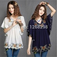 Wholesale White Hippie Blouse - Wholesale-Ethnic Style Floral Shirt Embroidered Hippie Women Blouse Dress Bat Sleeve Top