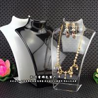 collar de maniquíes al por mayor-Exhibición de la joyería de moda busto de acrílico caja de almacenamiento del sostenedor de la joyería del maniquí pendiente colgante collar soporte titular de la muñeca envío gratis