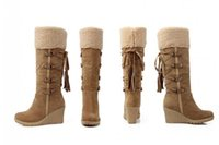 zapatos de limpieza al por mayor-2018 Winter Fashion Scrub Plush Snow Boots Mujeres Cuñas hasta la rodilla Botas antideslizantes Thermal Female Cotton-cushded Shoes Warm