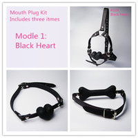 Wholesale Latex Sex Slave - Mouth Plug Kit Sex Products Gags Ball Oral Sex Latex Mouth Plug With Silicone Ball Oral Fixation Slave Gag Mouth Gag