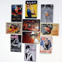 Wholesale Vintage Military Glasses - 50pcs Vintage Tin Signs Metal Poster Painting For Home Bar Pub Metal Painting 20*30cm Mixed Order ,Free DHL Fedex