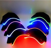 Wholesale Black Selection - 30pcs hot sale 7 colors LED Light Hat Glow Hat Black Fabric For Adult Baseball Caps Luminous Selection D565