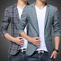 Wholesale Long Sleeve Red Formal For Men - Blazer Men Blue Red Gray Plaid Cotton Blazer Mens Formal Jacket Blazers for Stylish Men's Casual Slim Fit One Button Suit Jacket 4XL 5XL
