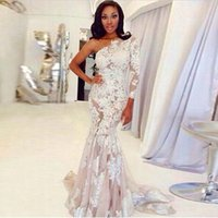 Wholesale White One Sleeve Prom Dress - Elegant One Shoulder Long Sleeve Mermaid White Appliques Lace Celebrity Dress Floor Length Evening Celebrity Gown Custom Made Prom Dresses