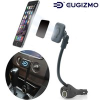 Wholesale Cigarette Gps Holder - Eugizmo Car Magnetic Phone Holder with Dual USB Port Charger Cigarette Lighter car Charger Mount Stand for Phones GPS MP3 MP4