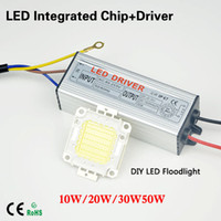 Wholesale High Power Led Driver Chip - Wholesale-1Sets Real 10W 20W 30W 50W COB Chips High Power LED lamp Beads + LED power supply Led floodlight driver For Landscape Lighting