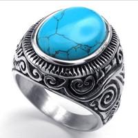 Wholesale gem rings - Men's Oval Turquoise Gem Stone Stainless Steel Finger Ring US Size 7 8 9 10 11 12 13