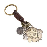Wholesale Woven Leather Key Ring - New retro woven leather owl keychain Alloy key chain Cartoon nighthawk Pendant Key Rings Key accessories Promotion Gift