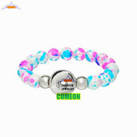 spraying enamel paint - Natural stone bracelet New Fashion Snap Button Stretch Bracelet DIY Glass Beads White Spray Paint bracelets for women