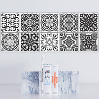 Preto e branco Retro Tile Tiles Stickers Pvc Bathroom Toilet Impermeável Wall Stickers Home Decor Wall Poster Adesivo De Parede
