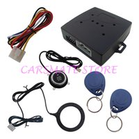 Wholesale Car Alarm Codes - RFID Car Alarm Release Engine Automatically Good Quality Push Button And Transponder Card Learning Code Alarm System