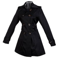 Wholesale Epaulette Jackets Collar - Women's Trench Coat Overcoat Outerwear Jacket Black Cotton Epaulette Button Turn-Down Collar Double-Breasted Belt at Waist Pocket Very Slim